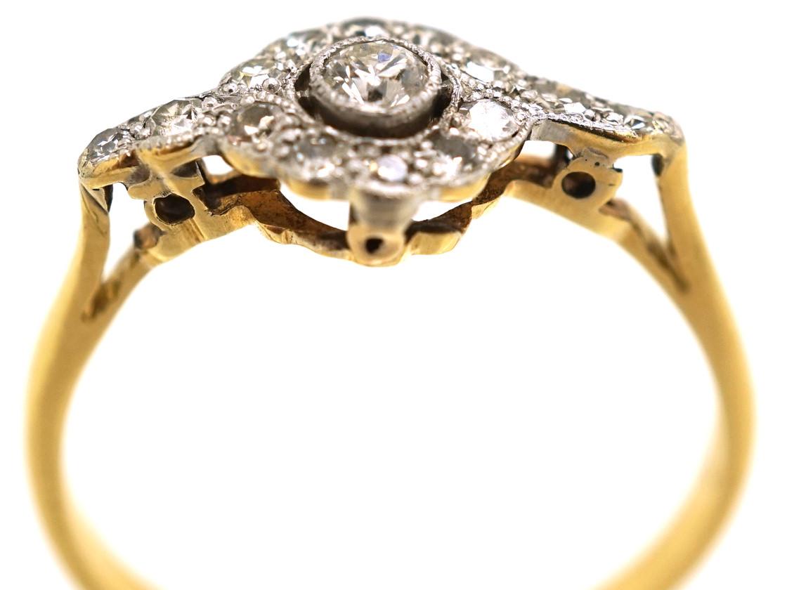 Edwardian 18ct Gold & Platinum Overlapping Diamond Cluster Ring