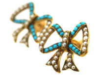 Edwardian 15ct Gold, Turquoise & Natural Split Pearl Earrings