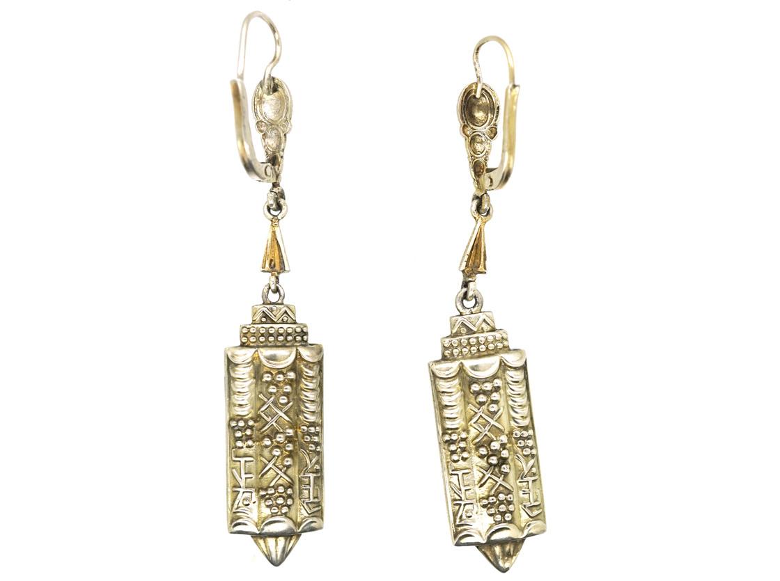 Art Deco silver & Enamel Drop Earrings attributed to Theodor Fahrner