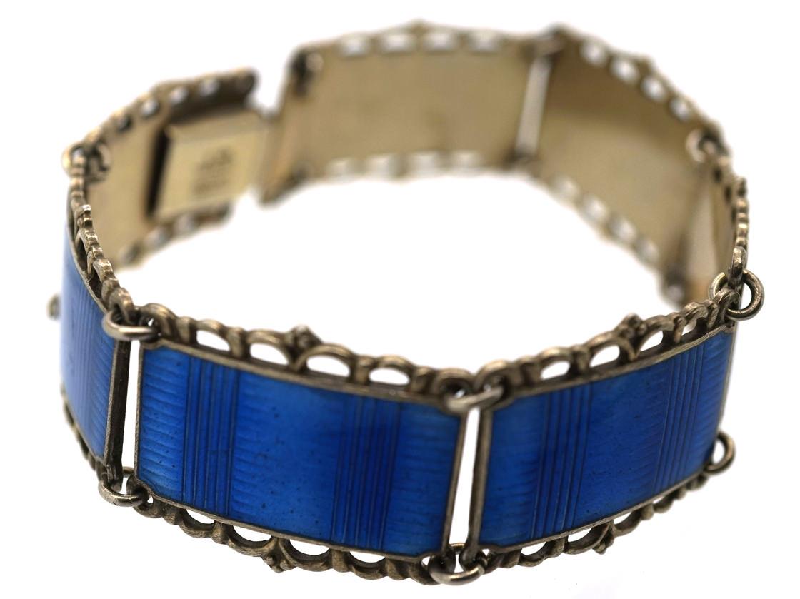 Art Deco Silver Gilt & Blue Enamel Bracelet by Kristian Hestenes