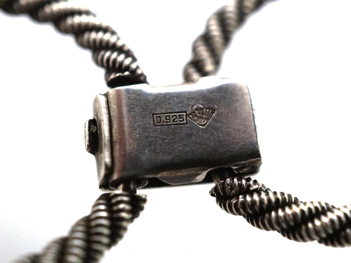 Silver Plain & Rope Links Bracelet