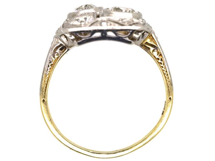 Art Deco 14ct White Gold & Diamond Plaque Ring