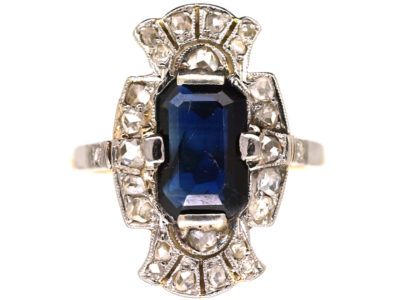 Art Deco Sapphire & Diamond Rectangular Ring