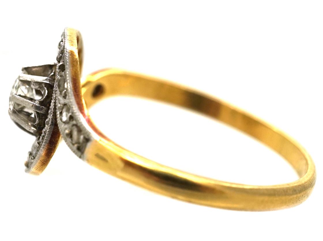 Edwardian 18ct Gold, Platinum & Diamond Swirl Ring