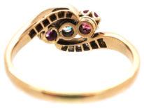 Edwardian Ruby & Diamond Crossover Ring