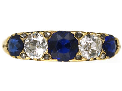 Victorian 18ct Gold, Sapphire & Diamond Five Stone Ring