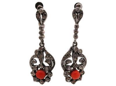 Art Deco Silver, Paste & Coral Drop Earrings