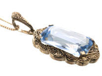 Art Deco Synthetic Blue Spinel Pendant on Chain