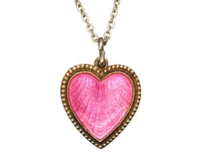 Norwegian Silver Gilt & Pink Enamel Heart Pendant on Silver Chain by Elvic & Co