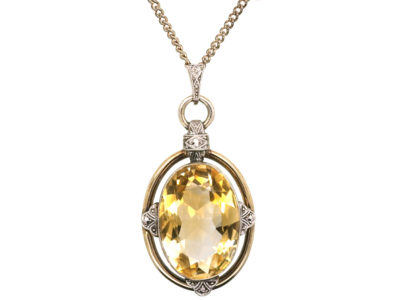 Art Deco Silver Pendant set with a Large Oval Citrine on Silver Chain
