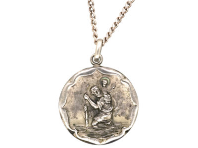Silver St Christopher Pendant on Silver Chain