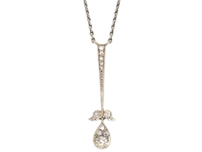 Art Deco Platinum & 15ct Gold Diamond Flower Drop Pendant on Chain