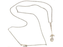 Art Deco Platinum & 15ct Gold Diamond Flower Drop Pendant on Chain