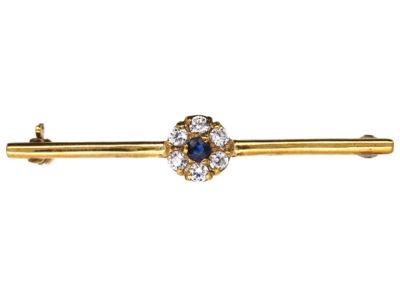 Edwardian Sapphire & Diamond Cluster Brooch