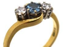 18ct Gold, Aquamarine & Diamond Crossover Ring