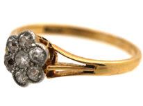 Edwardian 18ct Gold & Platinum, Diamond Daisy Cluster Ring