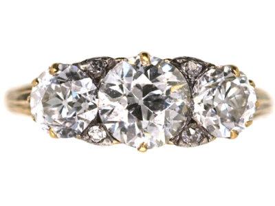 Victorian 18ct Gold & Diamond Three Stone Ring