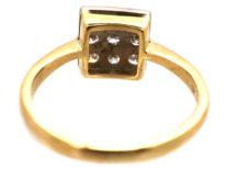 18ct Gold & Platinum Square Ring Set With Diamonds