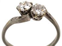 Edwardian Platinum, Two Stone Diamond Crossover Ring With Diamond Set Shoulders