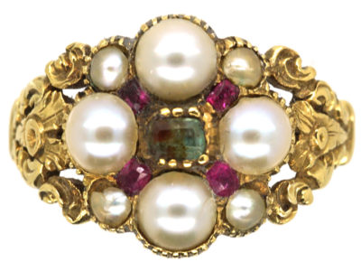 15ct Gold Regency Emerald, Natural Split Pearl & Ruby Cluster Ring