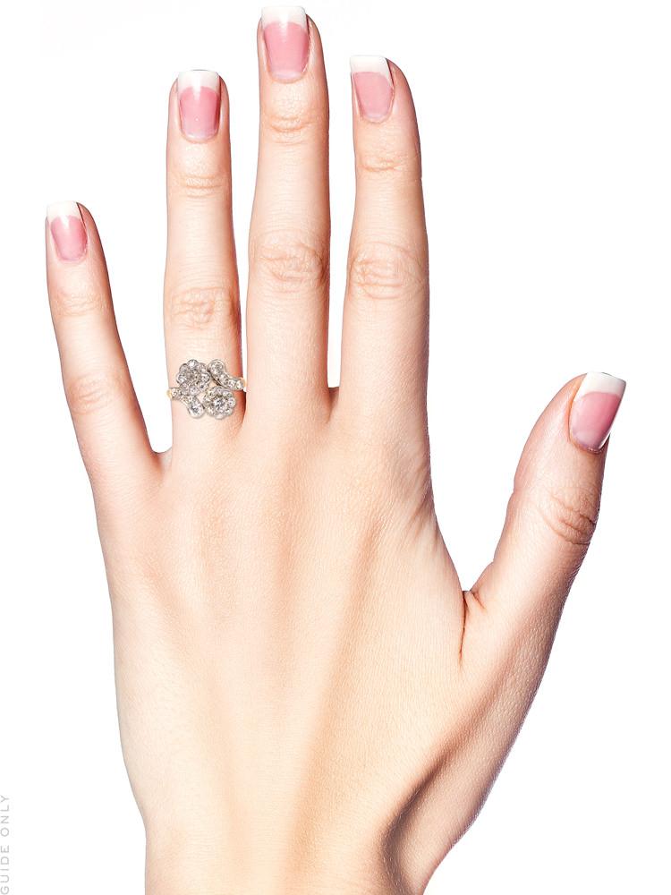 Edwardian 18ct Gold & Platinum, Diamond Double Cluster Ring