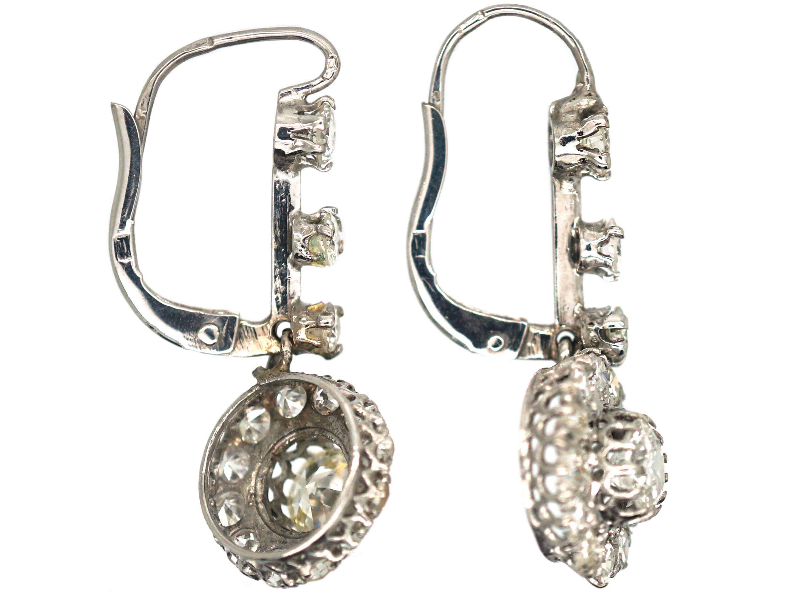 Edwardian 18ct White Gold & Diamond Cluster Drop Earrings