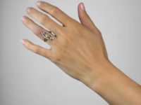 Art Deco Diamond Marquise Ring set with a Central Fancy Peach Diamond
