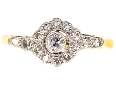 Edwardian 18ct Gold & Platinum Overlapping Diamond Cluster Ring