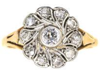 Edwardian 18ct Gold & Platinum Diamond Swirly Cluster Ring