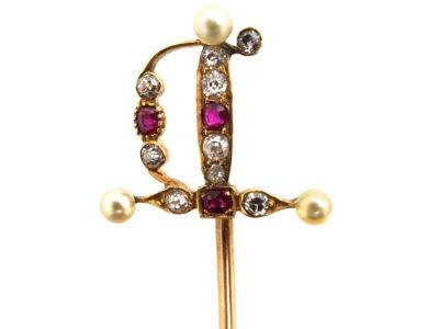 Edwardian 15ct Gold, Ruby Diamond & Natural Pearl Sword Tie Pin