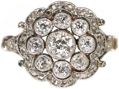 Edwardian Platinum & Diamond Cluster Ring with Scalloped Edge
