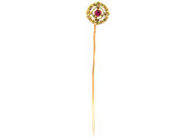 French Belle Epoque 18ct Gold & Ruby Wreath Tie Pin