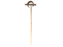 Edwardian 18ct Gold, Rose Diamond Crescent Moon & Bar Tie Pin