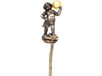 Victorian Silver Cherub Holding a Pearl Tie Pin