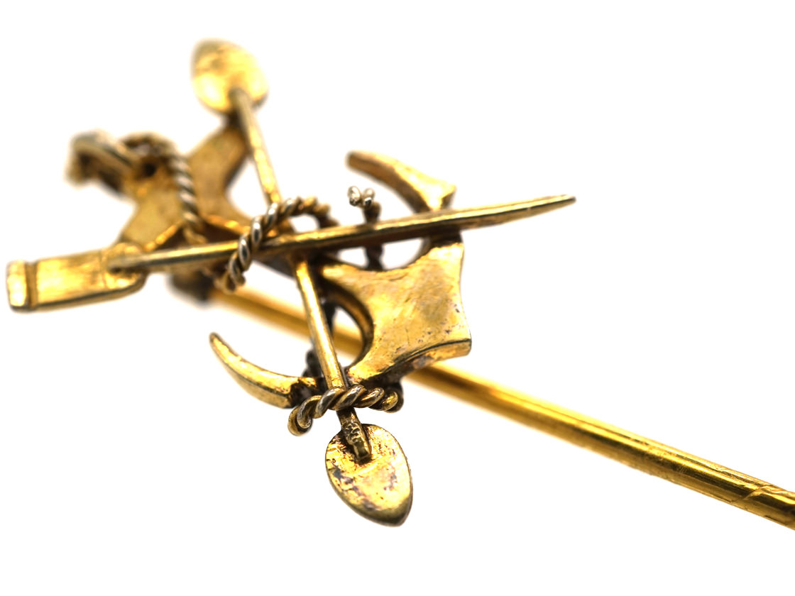 Edwardian 15ct Gold Anchor, Oar & Paddle Rowing Tie Pin