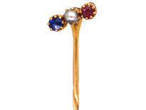 Edwardian Sapphire, Natural Pearl & Ruby Tie Pin