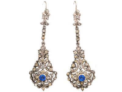 Edwardian Silver, Blue & White Paste Long Drop Earrings