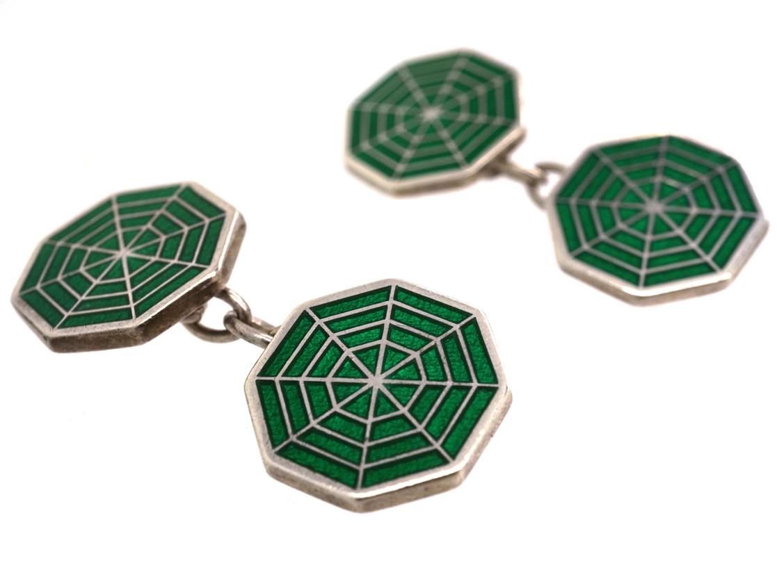 Silver & Green Enamel Octagonal Spider's Web Cufflinks