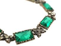 Silver, Green & White Paste Bracelet
