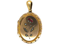 Edwardian 9ct Gold Back & Front Oval Locket set with Red Paste & Pearls