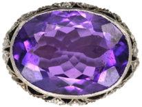 French Art Deco Platinum, Rose Diamond & Large Oval Amethyst Ring