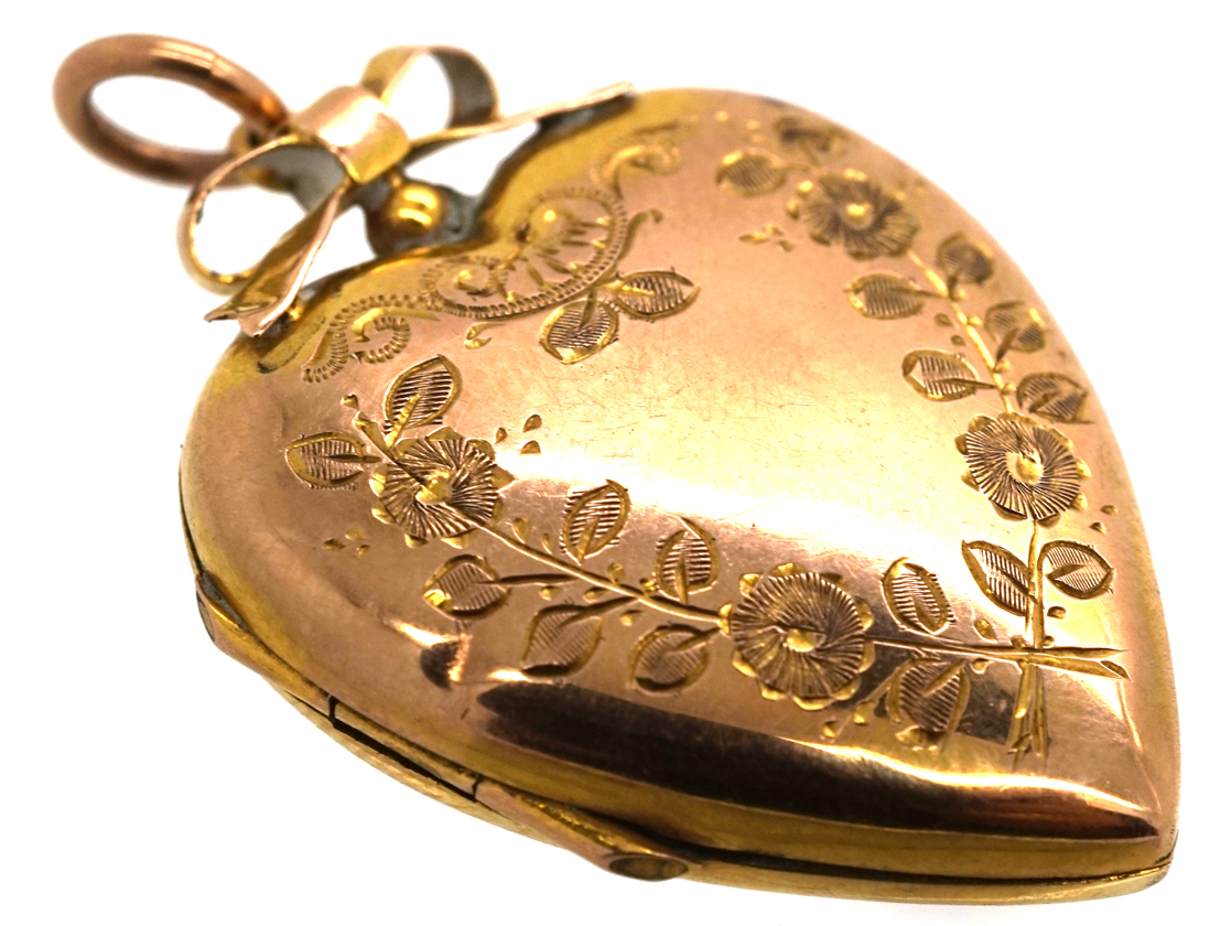 Edwardian 9ct Gold Back & Front Heart Shaped Locket with Swallow & Flowers Motif