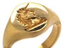 9ct Gold Signet Ring with Unicorn Intaglio