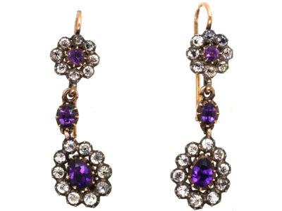 Georgian Gold & Silver, Amethyst & Paste Drop Earrings