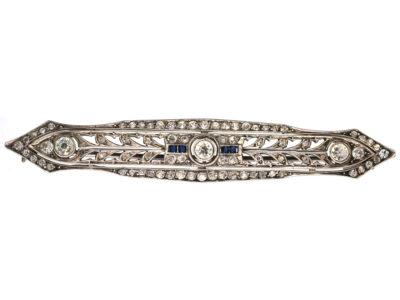 Art Deco Silver & Blue & White Paste Brooch