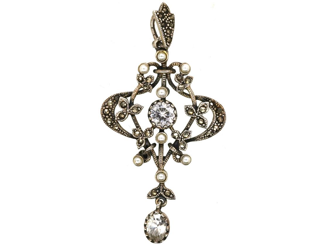 Silver, Marcasite, Faux Pearl & Paste Pendant