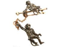 Edwardian Silver & Gold Novelty Brooch of Two Monkeys