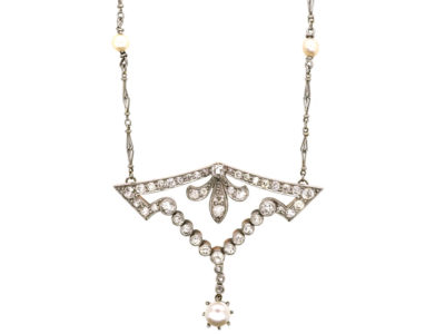 Art Deco Platinum, Natural Pearl & Diamond Pendant on Platinum & Natural Pearl Chain