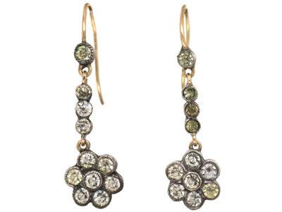 Edwardian Silver & Gold, Paste Cluster Drop Earrings
