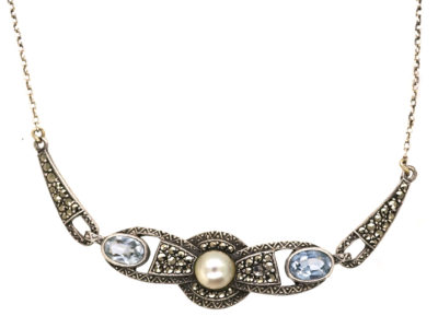 Art Deco Silver Necklace set with Marcasite, Synthetic Blue Spinel & a Pearl